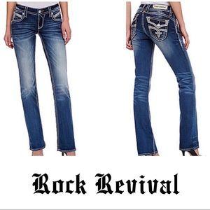 Rock Revival Dark Stephanie Boot Denim Jeans 27 4